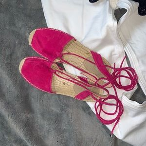 Gap // Fuchsia Suede Lace Up Flats